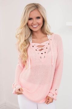 This lightweight sweater has so many details to love - it's a unique look for spring that's sure to stand out! We adore the soft and very stretchy knit material, plus the gorgeous shade of light pink is simply lovely!