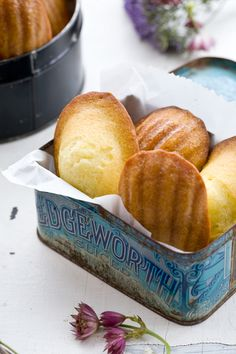 lemon verbena madeleines interesting different flavor, but would still do my way, beating yolks and whites separately for a spongier madeleine Just Desserts, Delicious Desserts, Yummy Food, Biscotti, Cookie Recipes, Dessert Recipes, Cupcakes, High Tea, Afternoon Tea
