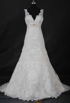 White/Ivory Lace Wedding Dress Bridal Gown Custom Size 2 4 6 8 10 12 14 16 18++