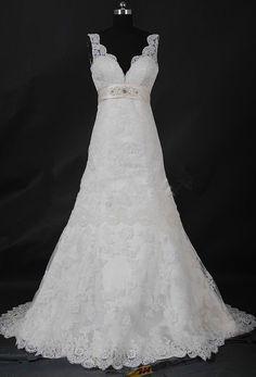 White/Ivory Lace Wedding Dress Bridal Gown Custom Size 2 4 6 8 10 12 14 16 18++