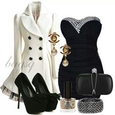 Little black dress and qhote peacoat
