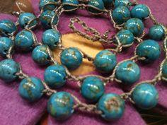 Mosaic Turquoise Blue camel color thread  feminine by wandandwear, $20.00