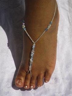 Rhinestone Bridal Jewelry Swarovski Barefoot Sandles Destination Wedding Beach Wedding