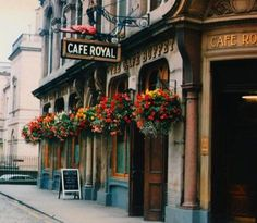 This is the Cafe Royal, near Edinburgh's Castle Rock, which is just as incredible inside- having had a half million restoration of its Victorian interior. Very Titanic-the movie, and a true piece of history.