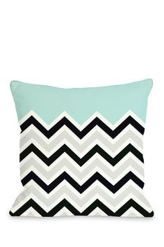 One Bella Casa 'Chevron Solid' Decorative Pillow. Love seafoam blue with black, gray, and white chevron pattern. Chevron Throw Pillows, Modern Throw Pillows, Blue Pillows, Floor Pillows, Decorative Throw Pillows, Pillow Inspiration, My Living Room, Boutique, Pillow Set