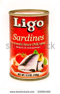 Winneconne, WI -21 Sept 2015:  Can of Sardines in tomato sauce form the Philippines made by Ligo.