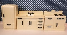 Dollhouse Miniature Kitchen Set Stove Sink Refrigerator #dollhouse #miniature #kitchenset
