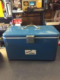 VINTAGE 1950-60S THERMOS BRAND BLUE METAL BEER SODA PICNIC COOLER Retro Cool  | eBay