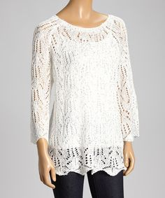 Look what I found on #zulily! White Knit Flare Scalloped Sweater - Women by Gizel #zulilyfinds