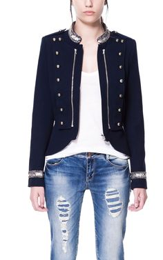 JACKET WITH APPLIQUÉS ON COLLAR AND CUFFS - ZARA