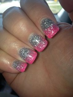 Pink ombre glitter nails I like this but with a white tip jot pink