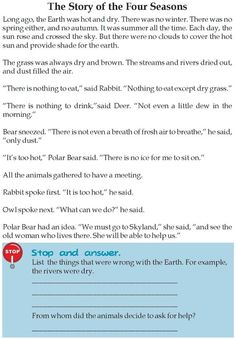 Grade 3 Reading Lesson 9 Fables And Folktales – The Story Of The Four Seasons: