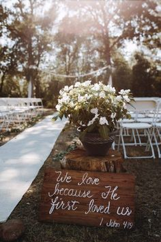 10 Ways to Incorporate Bible Verses in Your Wedding | Christian Wedding | Wedding Bible verses | Bible verse sign | Bible verse wedding | we love because He first loved us | Aisle decorations wedding | The Internet's Maid of Honor