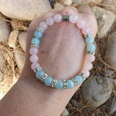 Pulsera de Cuarzo Rosa Para Damas Mujeres piedras preciosas Chakra Reiki sanar Elefante encanto UK