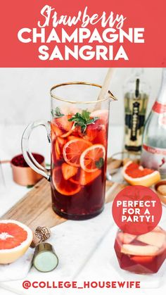 Sparkling Strawberry Champagne Sangria is the perfect party drink! This easy sangria recipe is made with five main ingredients and lots of fresh fruit for tons of flavor! This easy party cocktail has no refrigeration time, cheers to that! #sangria #partydrink #partycocktail #champagne #strawberry #valentines #galentines #grapefruit #pomegranate #cocktail Refreshing Summer Cocktails, Spring Cocktails, Classic Cocktails, Summer Drinks, Wine Cocktails, Sangria Recipes, Cocktail Recipes, Drink Recipes, Apple Cider Whiskey