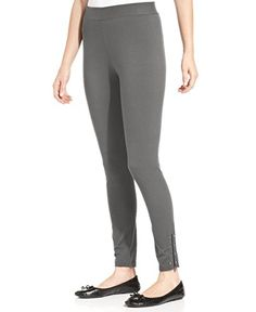 cdefa4061e9ede Style Co Womens Studded ZipperedHem Leggings Gray S -- Continue to the  product at the