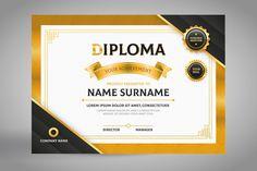 Elegant black and gold diploma certifica.