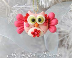 Ručně Polymer Clay Owl Ornament