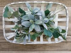 White Tobacco Basket Eucalyptus Lambs Ear, Tobacco Baskets, Farmhouse decor, fixer upper, gifts for her, front door wreath, wall decor by FarmHouseFloraLs on Etsy