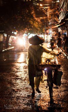 Rainy night in Hanoi - Vietnam
