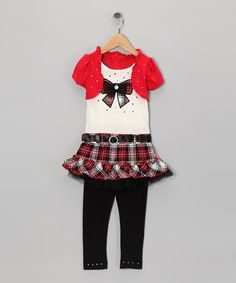 Take a look at this Red Bow Layered Tunic & Black Leggings - Infant, Toddler & Girls on zulily today!