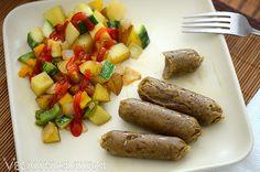 Maple Seitan Sausages with Squash Potato Hash #vegan