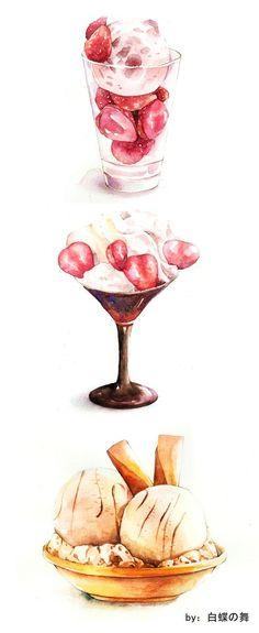 Kết quả hình ảnh cho 水彩 甜點