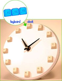 From Keyboard To Clock, a DIY Recycled Project to turn that old keyboard into a groovy functioning clock