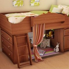 Not only does this bed ($556) have tons of storage, but it also has the perfect little nook for enjoying a book or pretend play. With a ladder to help the little ones get cozy in the loft, the sides of this bed also feature drawers perfect for stashing toys.