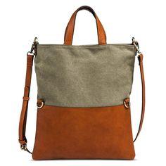 Women's Two Tone Color Clock Messenger Handbag - Olive/Brown