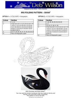 Swan Iris Folding pattern on Craftsuprint designed by Deb Wilson - Swans are mostly black in Perth, Australia - the example of this Swan iris folding pattern has been completed in those colours.A beautiful bird in any colour... - Now available for download!