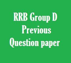 RRB Group D Previous Exam Question Paper