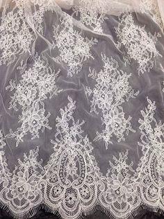 Corded Blossom Bridal Dress DIY Lace Fabric Wedding Gown Eyelash Tulle Trim 1 PC