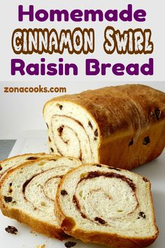 Homemade Cinnamon Swirl Raisin Bread is full of plump raisins and spiced with sweet sugar and cinnamon. It's perfect as toast slathered with butter. Loaf Bread Recipe, Bread Maker Recipes, Yeast Bread Recipes, Cinnamon Raisin Bread, Cinnamon Powder, Raisin Recipes, Bread Baking, Sweet Recipes, Cinnamon Desserts