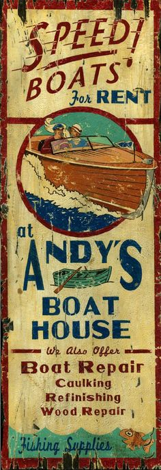 Andy's Boat House- rustic vintage lake speed boat sign printed directly to a distressed hardwood panel with knots and other imperfections giving each an antique look and feel. 2 sizes are available.