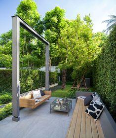 Terrace Design, Backyard Garden Design, Small Backyard Landscaping, Terrace Garden, Patio Design, Backyard Patio, Exterior Design, House Design, Outdoor Decor