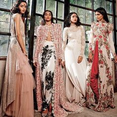 Anamika Khanna editorial for Harper's Bazaar Bride India onion the left. Length instead and skirt has layers, top is short sleeve t shirt style heavy embroidered and dupatta is wide hung over one shoulder and not to be folded Indian Attire, Indian Wear, Indian Style, Pakistani Outfits, Indian Outfits, India Fashion, Asian Fashion, Bcbg, Anamika Khanna