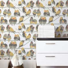 Lovebirds Paradise Wallpaper. Cute for a little reading nook or powder room under the stairs