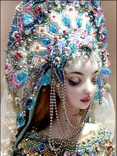 "Russian doll ""Snegurochka"" (Snow Maiden) in a beautiful kokoshnik (a headdress) by Marina Bychkova."