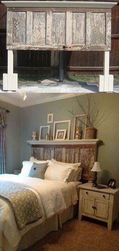 DIY Inspiration :: Old door turned into headboard to fit queen/king bed - Diy Furniture Bedroom Rustic Wood Headboard, Headboard From Old Door, Headboard Ideas, Headboard Door, Rustic Headboards, Old Door Headboards, Headboards For Beds Diy, Diy King Size Headboard, Country Headboard