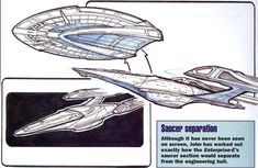 Sovereign-class saucer separation concept by John Eaves But I can't find where the engineering section's impulse engines are! via alphamecha