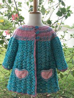 Baby Cardigan Sweater Pink Sweater Little by PeekabowsMESCrochet