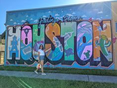 Check out my blog post for more Houston Murals. Murals in the Heights Houston. Houston Murals, Houston Locations, Visit Houston, Heart Location, Houston Heights, San Jacinto, Sunset Colors, Love Wall, Beer Garden