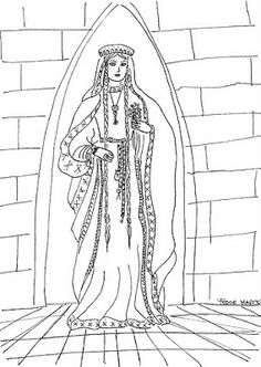 colour-in Medieval Princess | One Princess for Every Day
