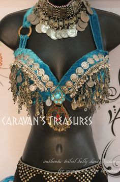 Kuchi Coin Belly Dance Bra Size D Turquoise Tribal ATS