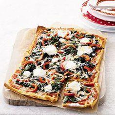 Recept - Plaatpizza met spinazie en twee soorten kaas - Allerhande