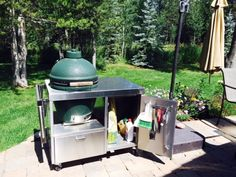 Big Green Egg Table, Green Eggs, Stainless Table, Ceramic Cooker, Bbq Area, Drink, Eat, Outdoor Decor, Home Decor