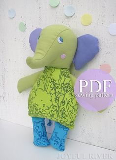 Items similar to Elephant sewing pattern PDF. Cloth doll Elephant sewing pattern by Joyful River on Etsy Teddy Bear Sewing Pattern, Pdf Sewing Patterns, Sewing Tutorials, Fabric Toys, Fabric Scraps, Diy Nursery Decor, Baby Sewing Projects, Elephant Pattern, Sock Animals