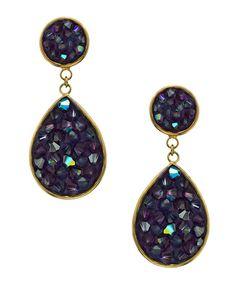 Liz Palacios Gold and Crystal Teardrop Earrings Purple Jewelry, Purple Earrings, Teardrop Earrings, Crystal Earrings, Liz Palacios, Max And Chloe, Square Rings, Pendant Necklace, Crystals
