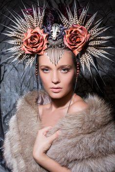 Pheasant feather and silk cocoon headpiece by Genevieve-Amelia.deviantart.com on @deviantART